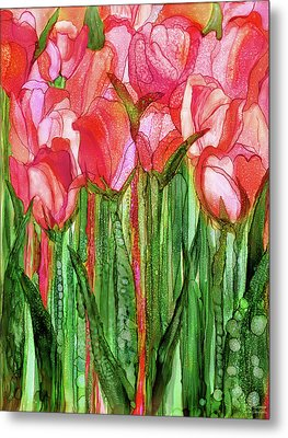 Metal Print featuring the mixed media Tulip Bloomies 1 - Red by Carol Cavalaris