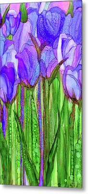 Metal Print featuring the mixed media Tulip Bloomies 2 - Purple by Carol Cavalaris