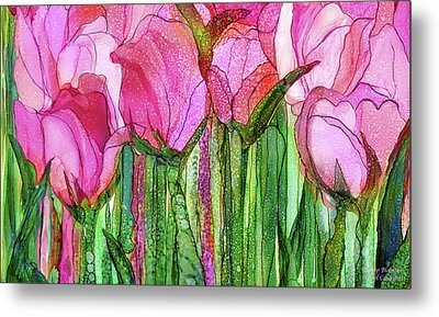 Metal Print featuring the mixed media Tulip Bloomies 3 - Pink by Carol Cavalaris