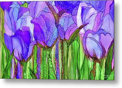 Metal Print featuring the mixed media Tulip Bloomies 3 - Purple by Carol Cavalaris