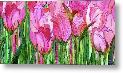 Metal Print featuring the mixed media Tulip Bloomies 4 - Pink by Carol Cavalaris
