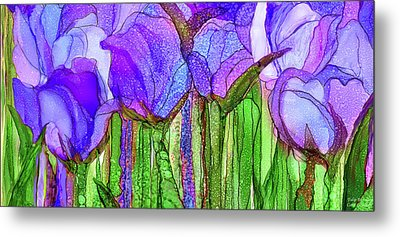Metal Print featuring the mixed media Tulip Bloomies 4 - Purple by Carol Cavalaris