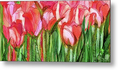 Metal Print featuring the mixed media Tulip Bloomies 4 - Red by Carol Cavalaris