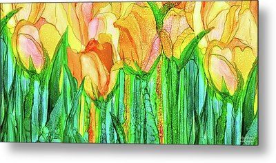 Metal Print featuring the mixed media Tulip Bloomies 4 - Yellow by Carol Cavalaris