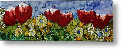 Tulip Bonanza Metal Print by Suzanne Canner