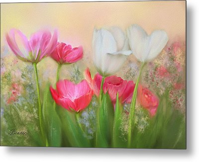 Metal Print featuring the painting Tulip Garden by Bonnie Willis