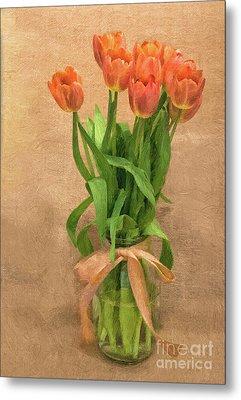 Tulip Impasto Metal Print