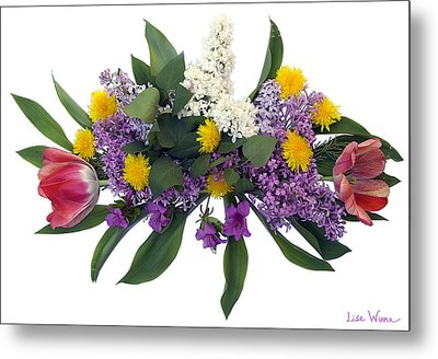 Tulip Lilac And Dandelion Bouquet Metal Print by Lise Winne