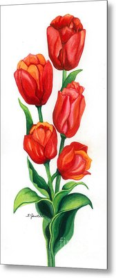 Metal Print featuring the painting Tulip Time by Barbara Jewell