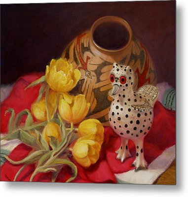 Metal Print featuring the painting Tulips And Pottery by Donelli  DiMaria