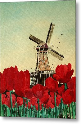 Tulips And Windmill Metal Print