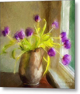 Metal Print featuring the mixed media Tulips Arrayed by Terry Rowe