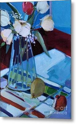 Metal Print featuring the painting Tulips by Diane Ursin