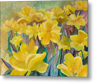 Tulips In Abstract Time Metal Print by Rita Bentley