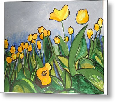 Metal Print featuring the painting Tulips In Springtime by Esther Newman-Cohen