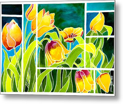 Tulips In Stained Glass Metal Print by Janis Grau