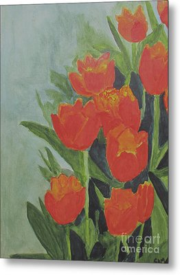 Metal Print featuring the painting Tulips by Sandy McIntire