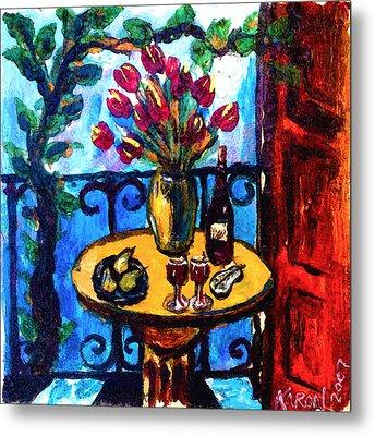 Tulips Wine And Pears Metal Print by Karon Melillo DeVega