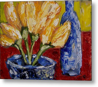 Tulips With Blue Bottle Metal Print by Windi Rosson