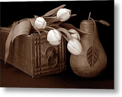 Tulips With Pear I Metal Print
