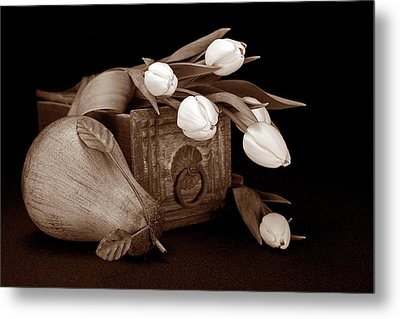 Tulips With Pear II Metal Print by Tom Mc Nemar