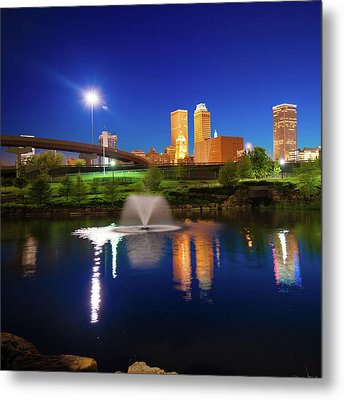 Metal Print featuring the photograph Tulsa Oklahoma City Skyline In Midnight Blue by Gregory Ballos