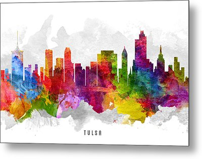 Tulsa Oklahoma Cityscape 13 Metal Print by Aged Pixel