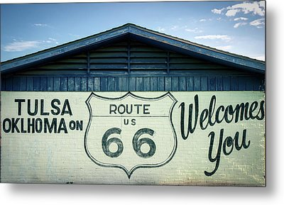 Metal Print featuring the photograph Tulsa Oklahoma On Route 66 Welcomes You by Gregory Ballos