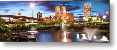 Tulsa Oklahoma Panoramic From Centennial Park Metal Print by Gregory Ballos
