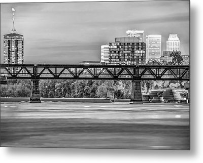 Tulsa Oklahoma Skyline Over The Arkansas River Black And White Metal Print