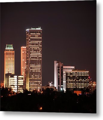 Metal Print featuring the photograph Tulsa Skyline Above The Trees 1x1 by Gregory Ballos
