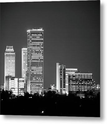 Metal Print featuring the photograph Tulsa Skyline Above The Trees Black And White 1x1 by Gregory Ballos