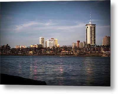Metal Print featuring the photograph Tulsa Skyline And Arkansas River - Vignette by Gregory Ballos