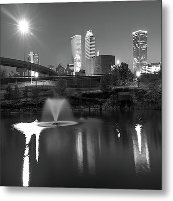 Metal Print featuring the photograph Tulsa Skyline On The Water 1x1 - Black And White by Gregory Ballos