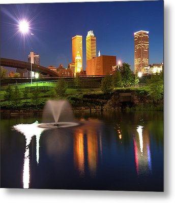 Metal Print featuring the photograph Tulsa Skyline On The Water 1x1 - Color by Gregory Ballos