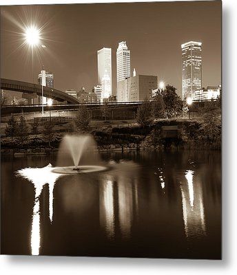 Metal Print featuring the photograph Tulsa Skyline On The Water 1x1 - Sepia by Gregory Ballos
