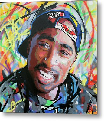 Metal Print featuring the painting Tupac Portrait by Richard Day
