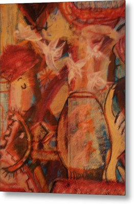 Turbanned Man With Goldfish Bowl Abstract Metal Print by Anne-Elizabeth Whiteway