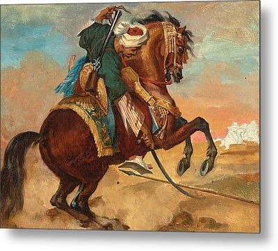 Turk Mounted On Chestnut Colored Horse Metal Print by Theodore Gericault