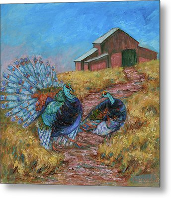 Metal Print featuring the painting Turkey Tom's Tango by Xueling Zou