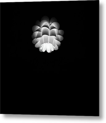 Turn On Ceiling Light Black And White Color Metal Print