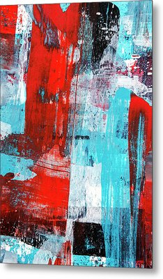 Metal Print featuring the painting Turquoise And Red Abstract Painting by Christina Rollo