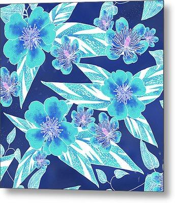 Turquoise Batik Tile 1- Camellia Metal Print