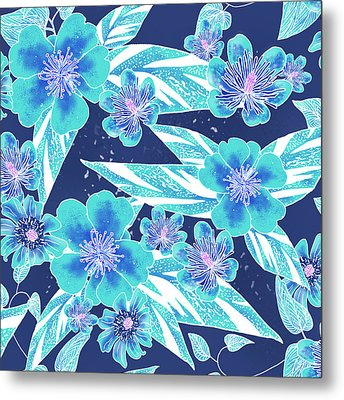 Turquoise Batik Tile 2 - Bidens Metal Print