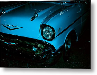 Turquoise Chevy Metal Print by DigiArt Diaries by Vicky B Fuller