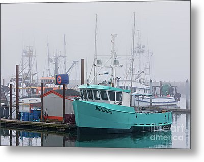 Turquoise Fishing Boat Metal Print by Jerry Fornarotto