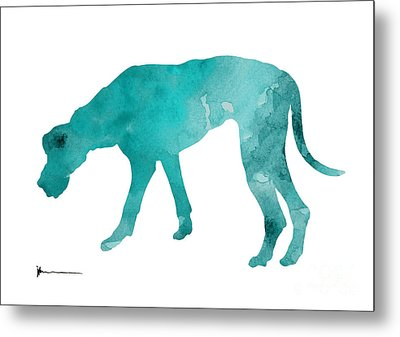 Turquoise Great Dane Watercolor Art Print Paitning Metal Print by Joanna Szmerdt