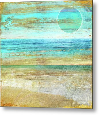 Turquoise Moon Day Metal Print