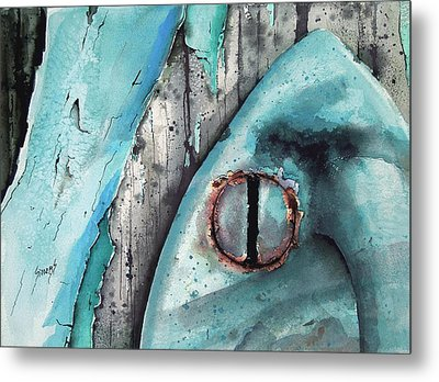 Turquoise Paint Metal Print by Sam Sidders