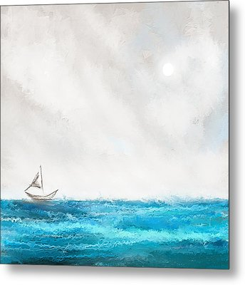 Turquoise Sailing - Moonlight Sailing Metal Print by Lourry Legarde